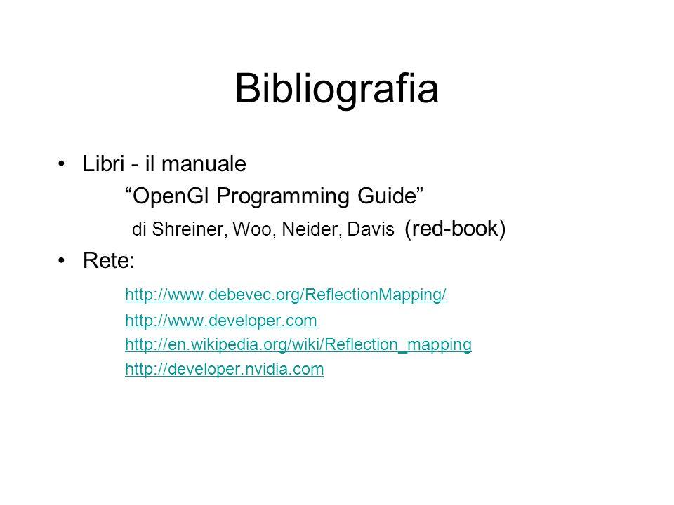 Bibliografia Libri - il manuale OpenGl Programming Guide di Shreiner, Woo, Neider, Davis (red-book) Rete: http://www.debevec.org/ReflectionMapping/ ht