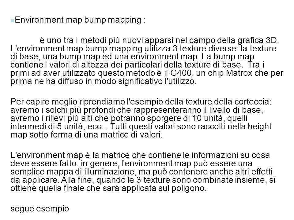 Environment map bump mapping : è uno tra i metodi più nuovi apparsi nel campo della grafica 3D. L'environment map bump mapping utilizza 3 texture dive