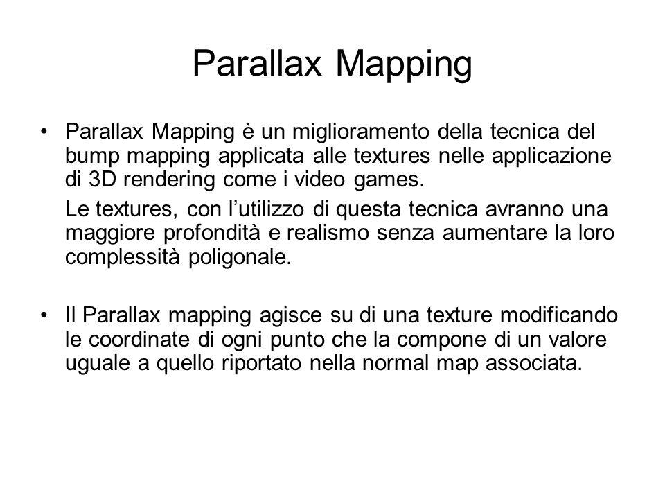 Parallax Mapping Parallax Mapping è un miglioramento della tecnica del bump mapping applicata alle textures nelle applicazione di 3D rendering come i