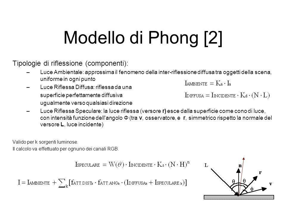 Modello di Phong [2] Tipologie di riflessione (componenti): –Luce Ambientale: approssima il fenomeno della inter-riflessione diffusa tra oggetti della