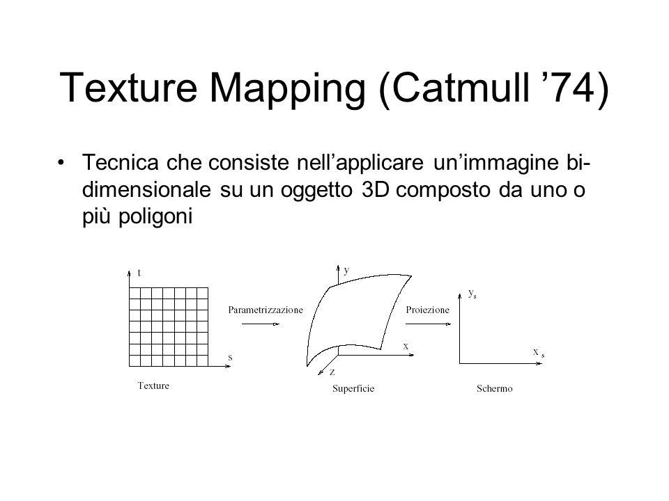 Texture Mapping (Catmull 74) Tecnica che consiste nellapplicare unimmagine bi- dimensionale su un oggetto 3D composto da uno o più poligoni