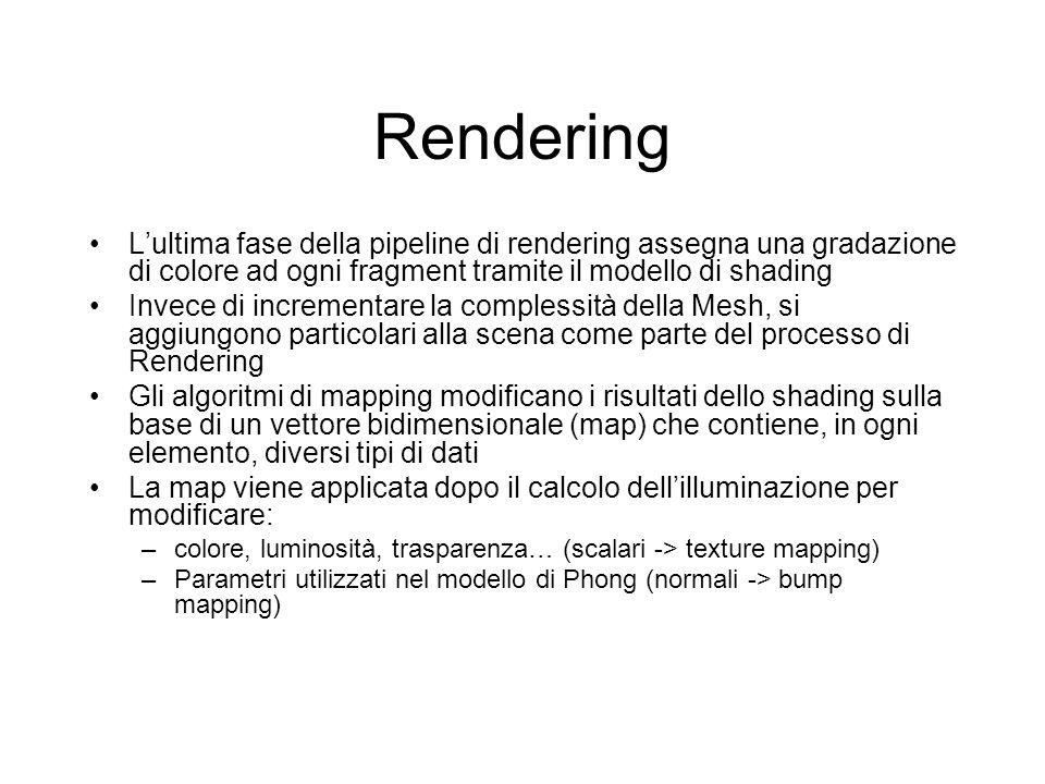 Rendering Lultima fase della pipeline di rendering assegna una gradazione di colore ad ogni fragment tramite il modello di shading Invece di increment