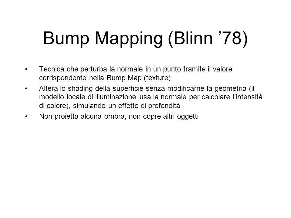 Bump Mapping (Blinn 78) Tecnica che perturba la normale in un punto tramite il valore corrispondente nella Bump Map (texture) Altera lo shading della