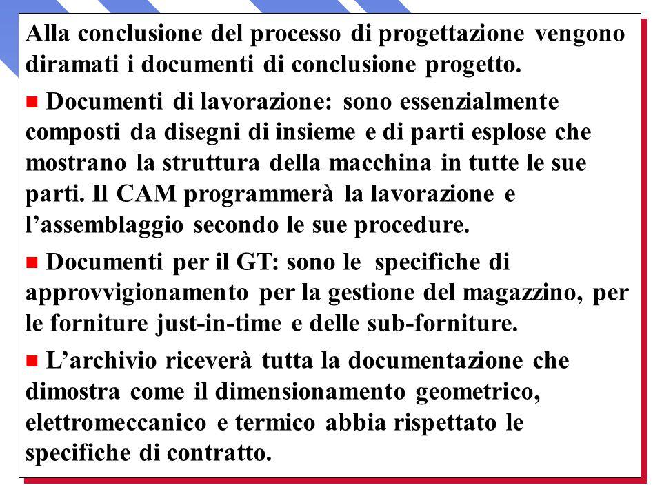 Alla conclusione del processo di progettazione vengono diramati i documenti di conclusione progetto. n Documenti di lavorazione: sono essenzialmente c