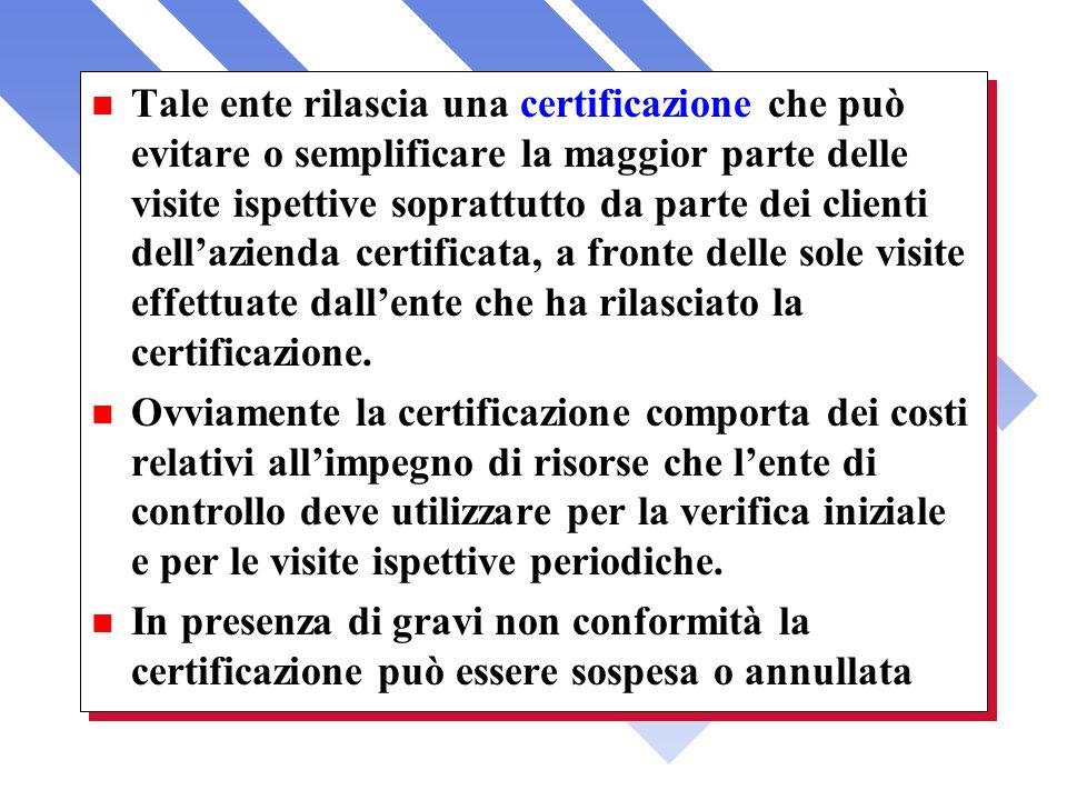 n Tale ente rilascia una certificazione che può evitare o semplificare la maggior parte delle visite ispettive soprattutto da parte dei clienti dellaz