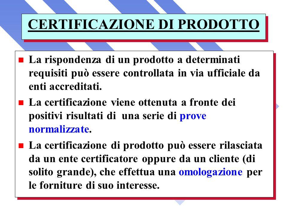 CERTIFICAZIONE DI PRODOTTO n La rispondenza di un prodotto a determinati requisiti può essere controllata in via ufficiale da enti accreditati. n La c