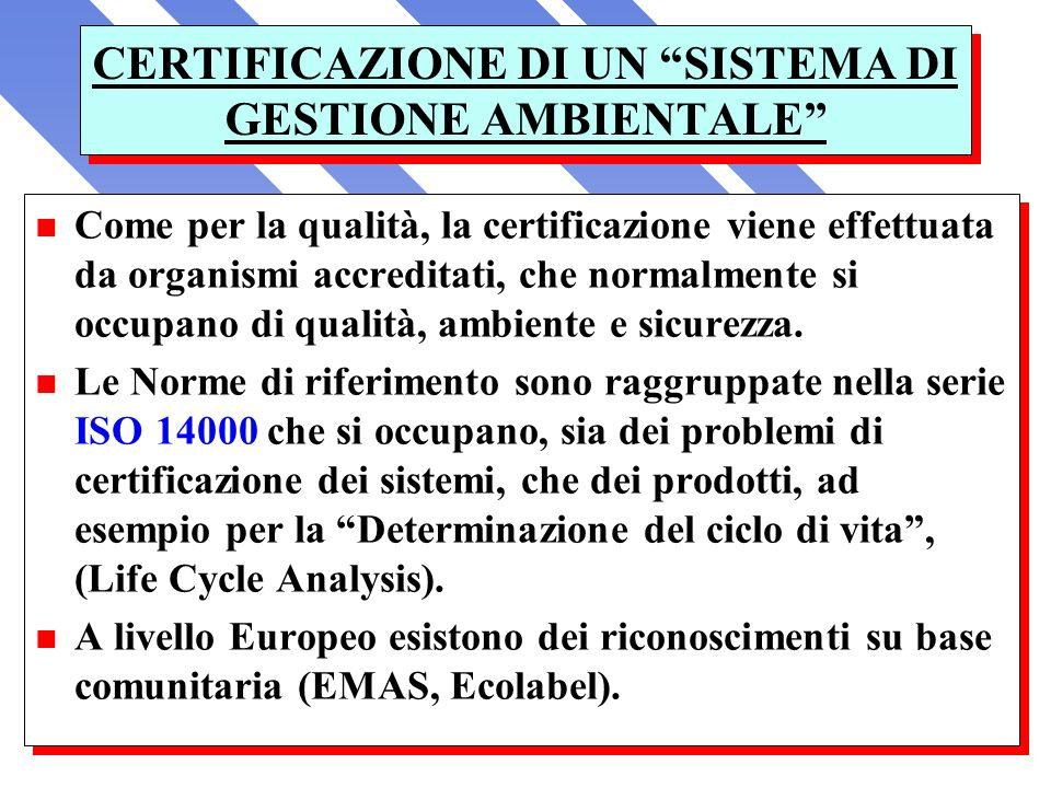CERTIFICAZIONE DI UN SISTEMA DI GESTIONE AMBIENTALE n Come per la qualità, la certificazione viene effettuata da organismi accreditati, che normalment
