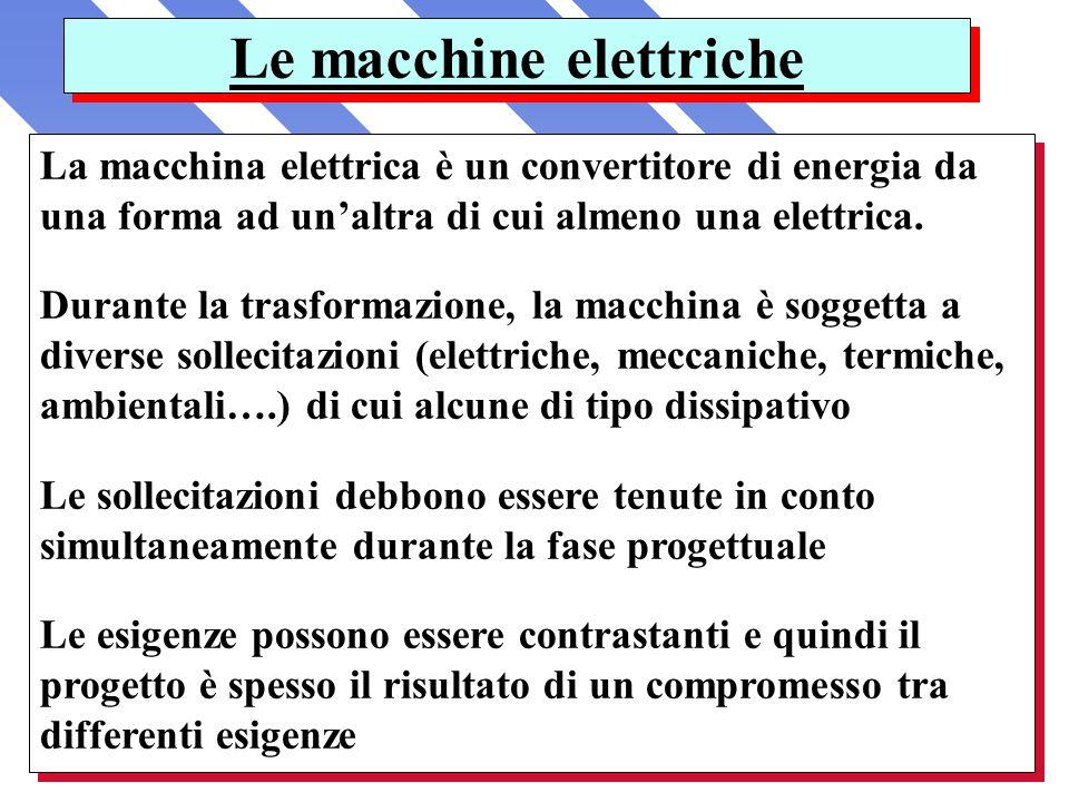 La macchina elettrica è un convertitore di energia da una forma ad unaltra di cui almeno una elettrica. Durante la trasformazione, la macchina è sogge