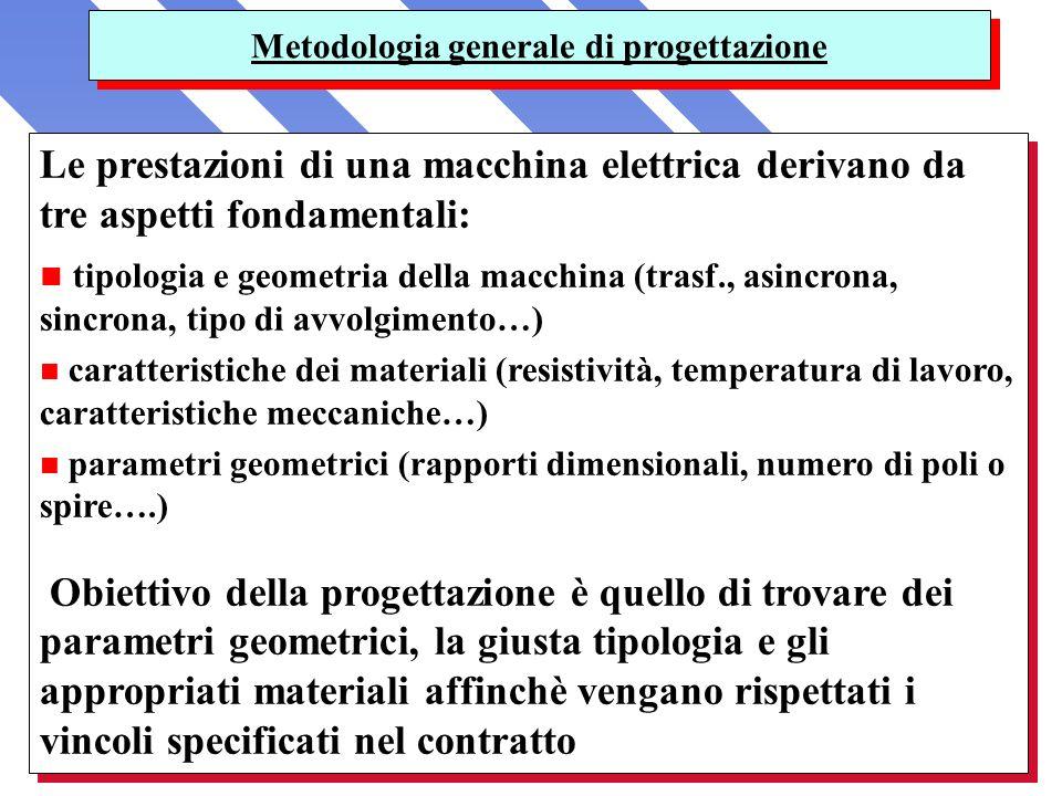Metodologia generale di progettazione Le prestazioni di una macchina elettrica derivano da tre aspetti fondamentali: n tipologia e geometria della mac