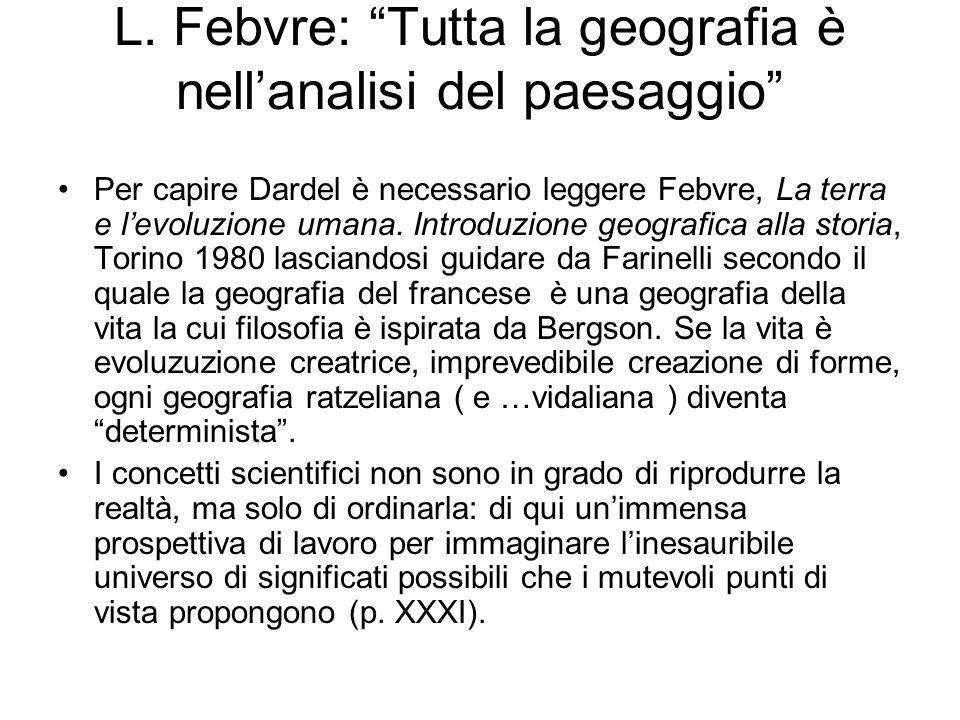 L. Febvre: Tutta la geografia è nellanalisi del paesaggio Per capire Dardel è necessario leggere Febvre, La terra e levoluzione umana. Introduzione ge