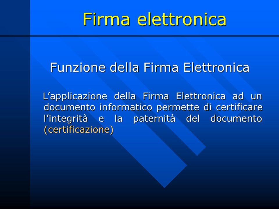 Firma elettronica Funzione della Firma Elettronica Funzione della Firma Elettronica Lapplicazione della Firma Elettronica ad un documento informatico