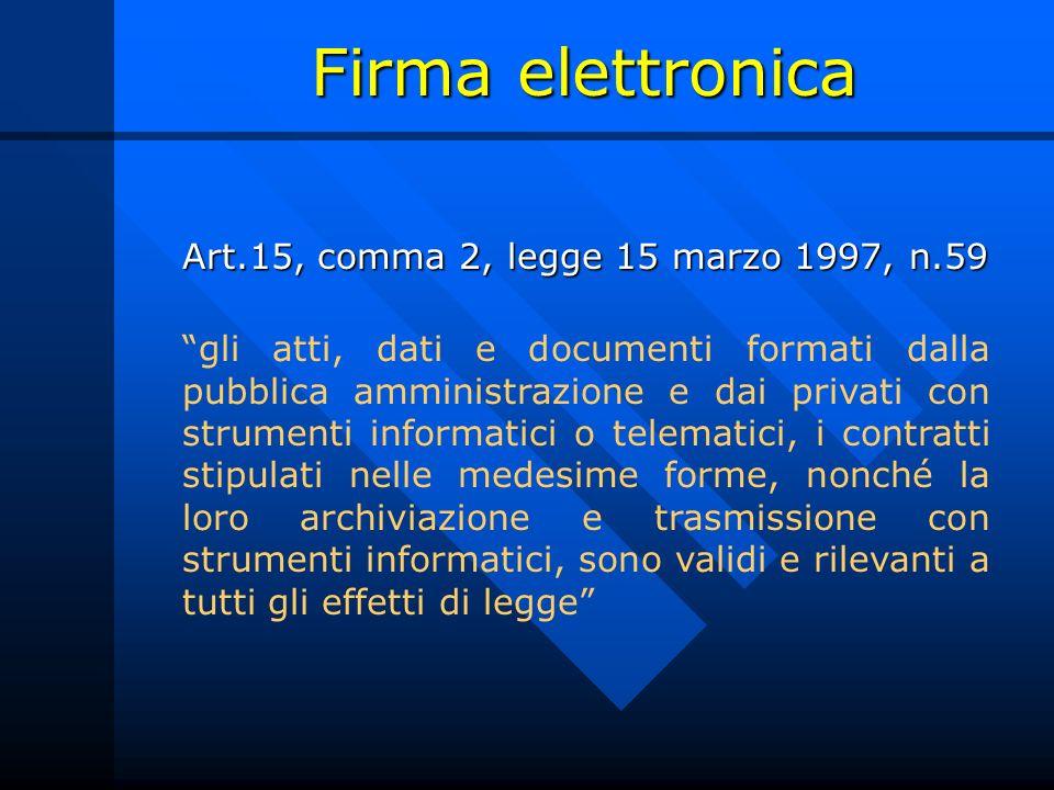 Firma elettronica Art.15, comma 2, legge 15 marzo 1997, n.59 Art.15, comma 2, legge 15 marzo 1997, n.59 gli atti, dati e documenti formati dalla pubbl
