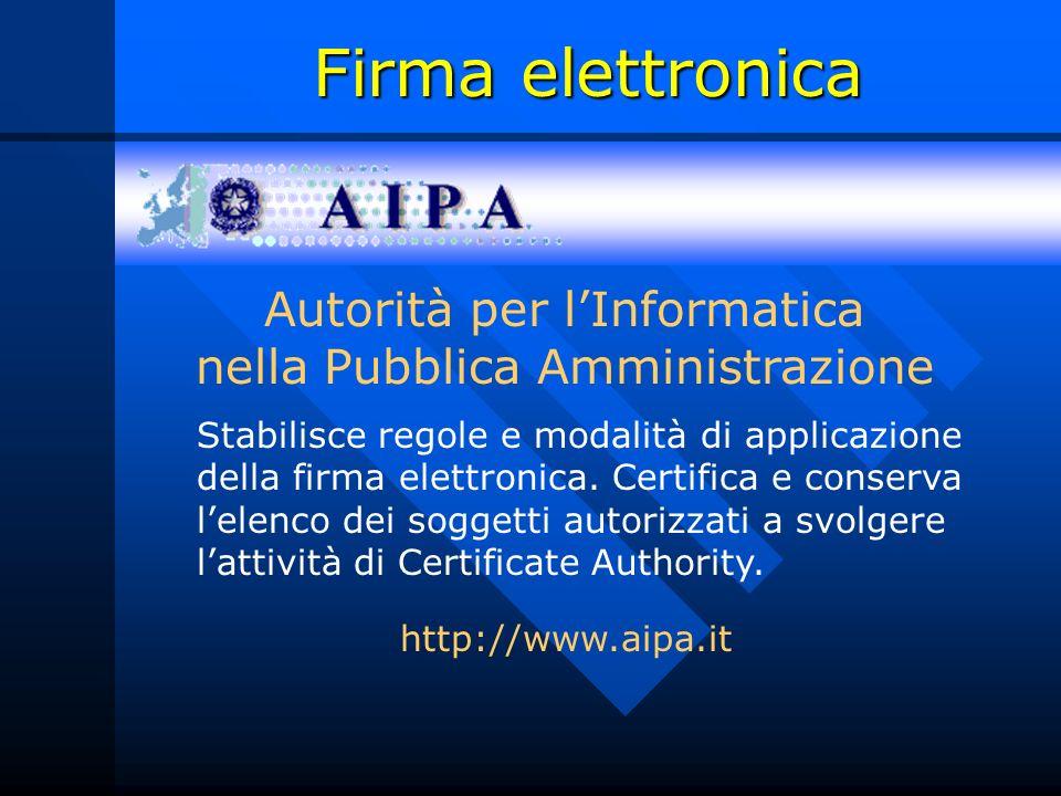 Firma elettronica http://www.aipa.it Autorità per lInformatica nella Pubblica Amministrazione Stabilisce regole e modalità di applicazione della firma elettronica.
