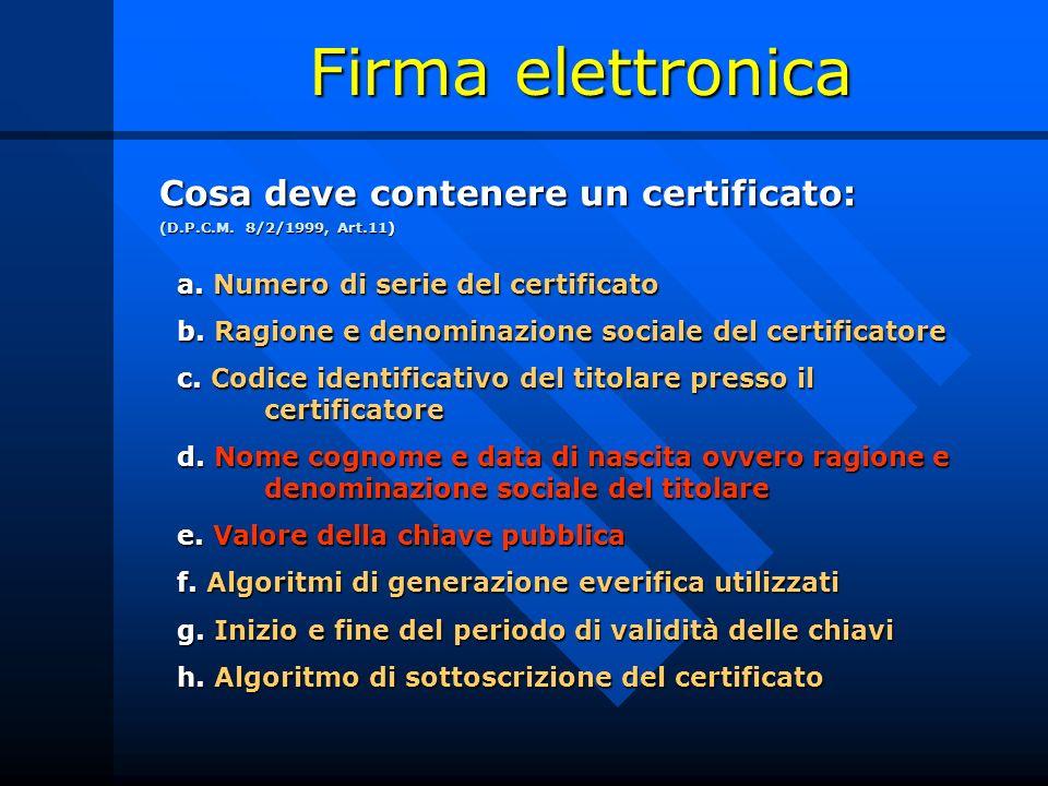 Firma elettronica Cosa deve contenere un certificato: (D.P.C.M. 8/2/1999, Art.11) a. Numero di serie del certificato a. Numero di serie del certificat