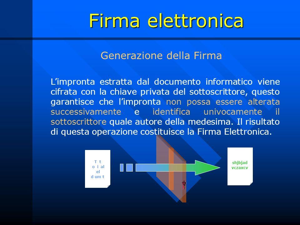 Firma elettronica Limpronta estratta dal documento informatico viene cifrata con la chiave privata del sottoscrittore, questo garantisce che limpronta