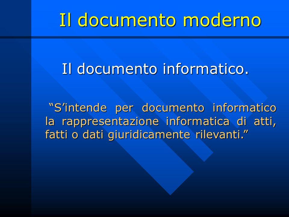 Il documento moderno Il documento informatico. Sintende per documento informatico la rappresentazione informatica di atti, fatti o dati giuridicamente