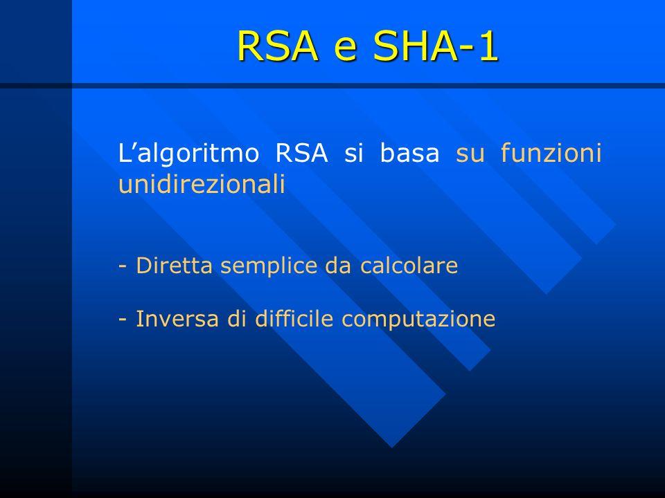 Lalgoritmo RSA si basa su funzioni unidirezionali - Diretta semplice da calcolare - Inversa di difficile computazione RSA e SHA-1