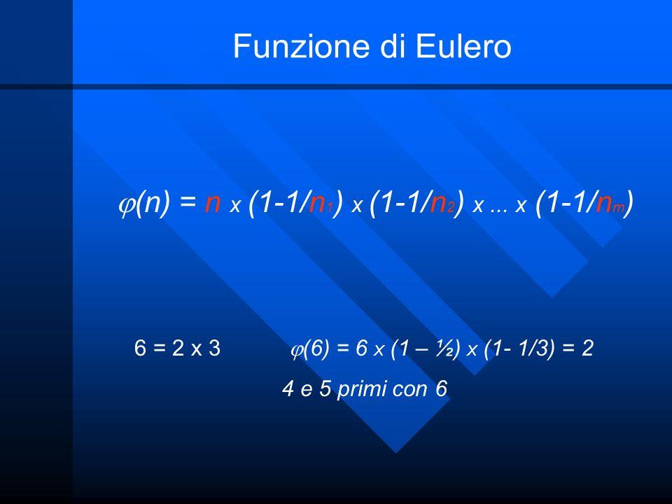 Funzione di Eulero (n) = n x (1-1/n 1 ) x (1-1/n 2 ) x... x (1-1/n m ) 6 = 2 x 3 (6) = 6 X (1 – ½) X (1- 1/3) = 2 4 e 5 primi con 6