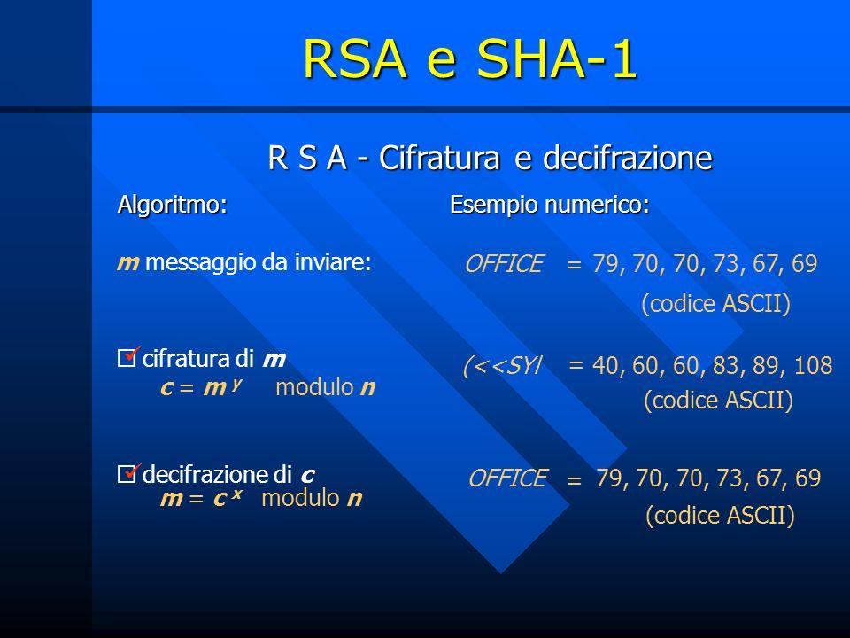 R S A - Cifratura e decifrazione Algoritmo: Esempio numerico: decifrazione di c m = c x modulo n cifratura di m c = m y modulo n m messaggio da inviare: = (codice ASCII) 40, 60, 60, 83, 89, 108(<<SYl 79, 70, 70, 73, 67, 69OFFICE = 79, 70, 70, 73, 67, 69OFFICE= (codice ASCII) RSA e SHA-1