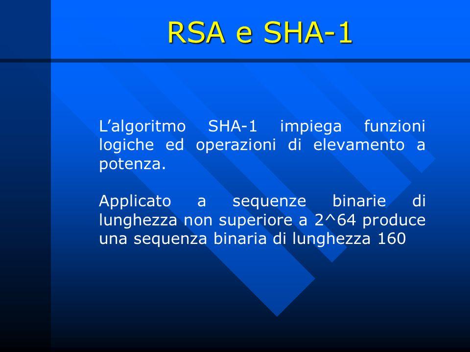 Lalgoritmo SHA-1 impiega funzioni logiche ed operazioni di elevamento a potenza. Applicato a sequenze binarie di lunghezza non superiore a 2^64 produc