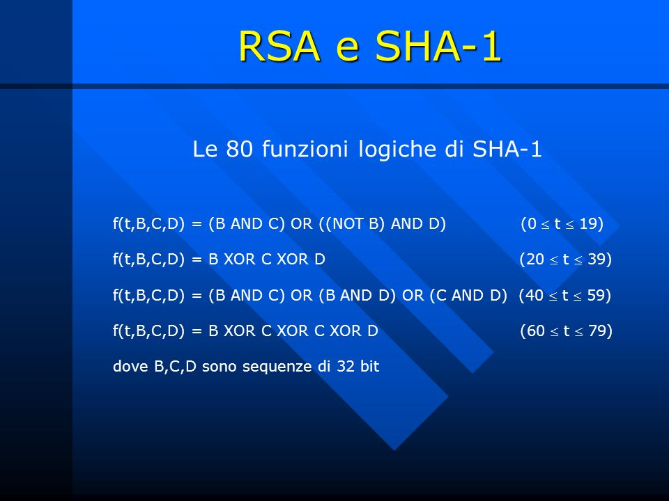 Le 80 funzioni logiche di SHA-1 f(t,B,C,D) = (B AND C) OR ((NOT B) AND D) (0 t 19) f(t,B,C,D) = B XOR C XOR D (20 t 39) f(t,B,C,D) = (B AND C) OR (B A