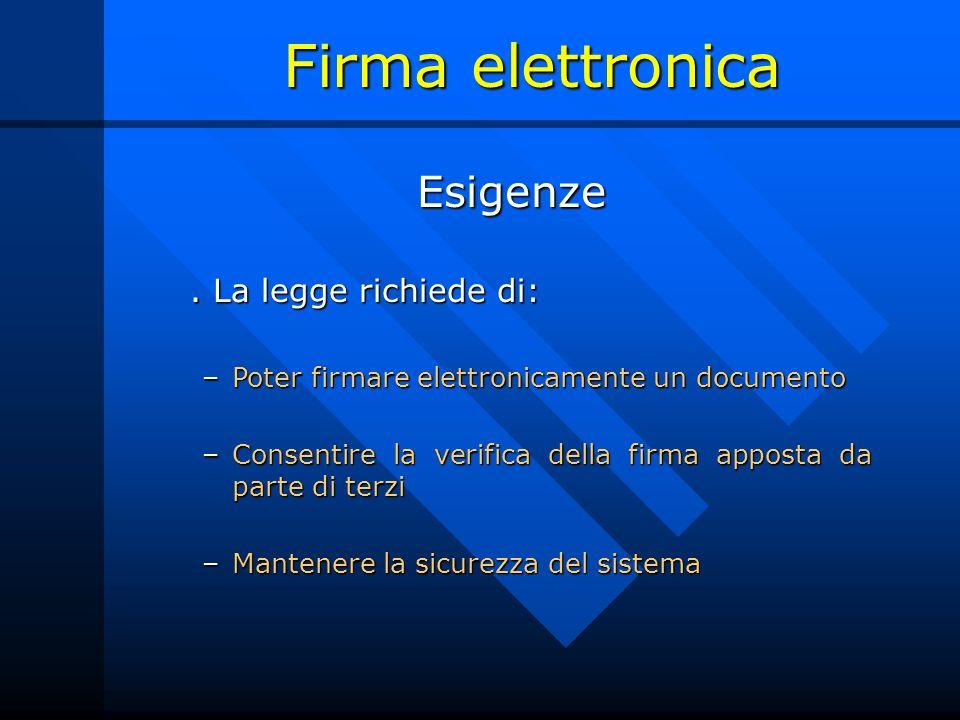 Firma elettronica Esigenze. La legge richiede di: –Poter firmare elettronicamente un documento –Consentire la verifica della firma apposta da parte di
