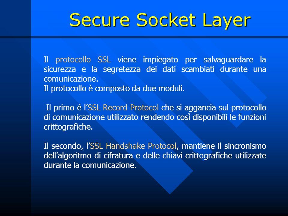 Il protocollo SSL viene impiegato per salvaguardare la sicurezza e la segretezza dei dati scambiati durante una comunicazione. Il protocollo è compost