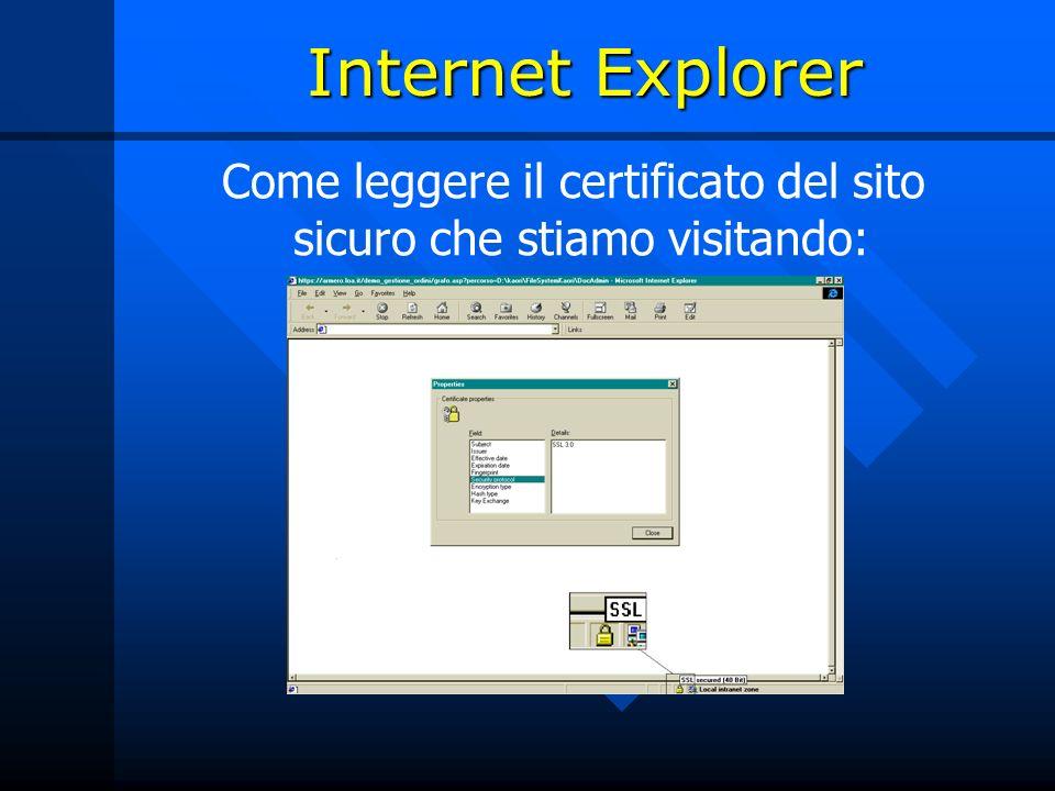 Come leggere il certificato del sito sicuro che stiamo visitando: Internet Explorer