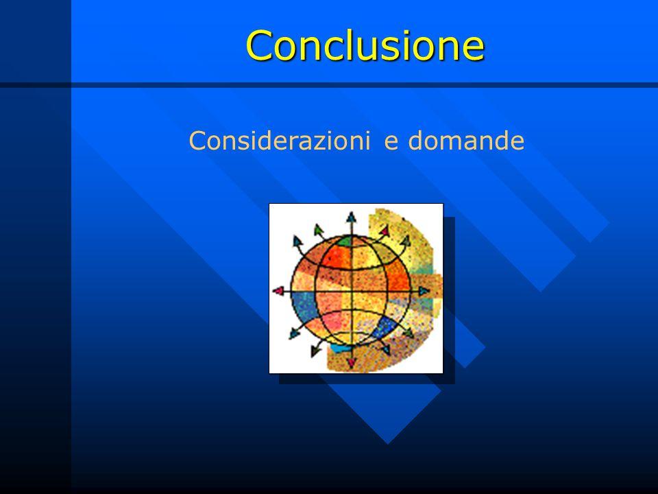 Conclusione Considerazioni e domande