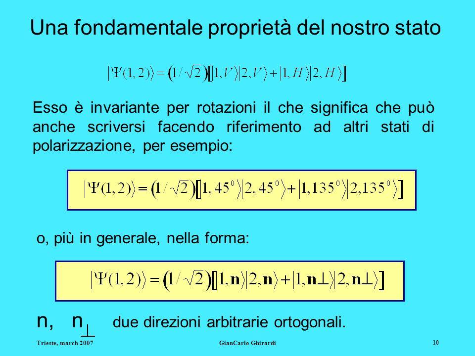 Trieste, march 2007GianCarlo Ghirardi 10 Una fondamentale proprietà del nostro stato Esso è invariante per rotazioni il che significa che può anche scriversi facendo riferimento ad altri stati di polarizzazione, per esempio: o, più in generale, nella forma: n, n due direzioni arbitrarie ortogonali.