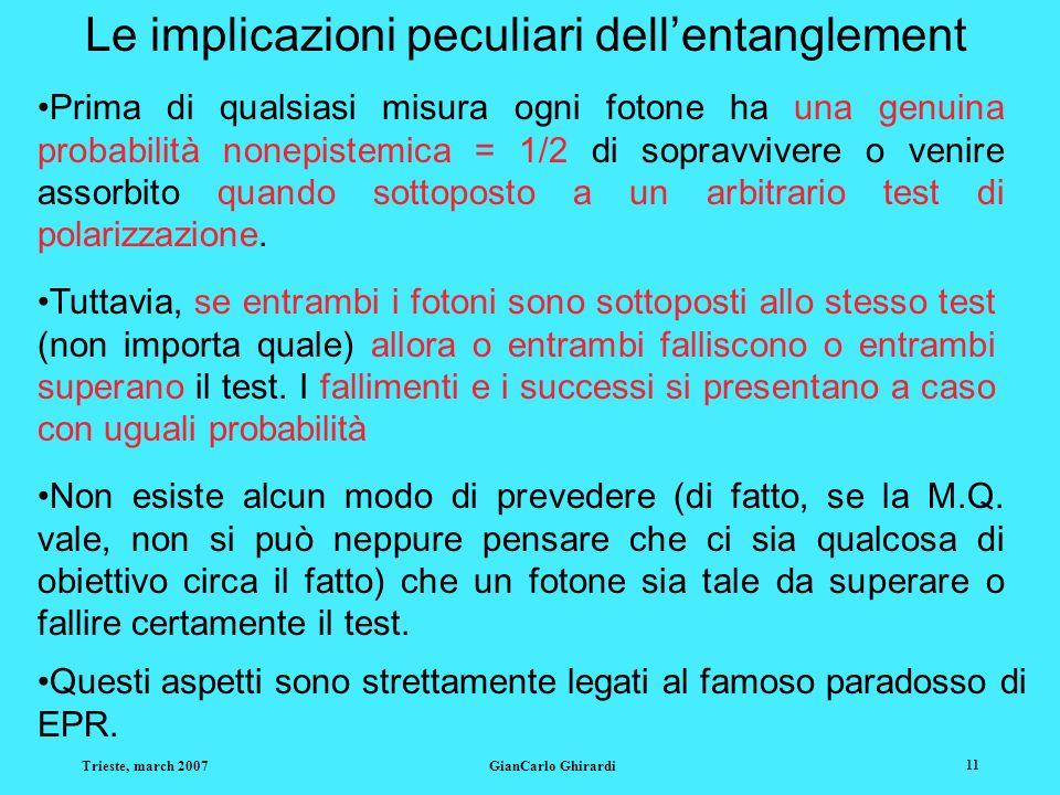 Trieste, march 2007GianCarlo Ghirardi 11 Le implicazioni peculiari dellentanglement Prima di qualsiasi misura ogni fotone ha una genuina probabilità nonepistemica = 1/2 di sopravvivere o venire assorbito quando sottoposto a un arbitrario test di polarizzazione.