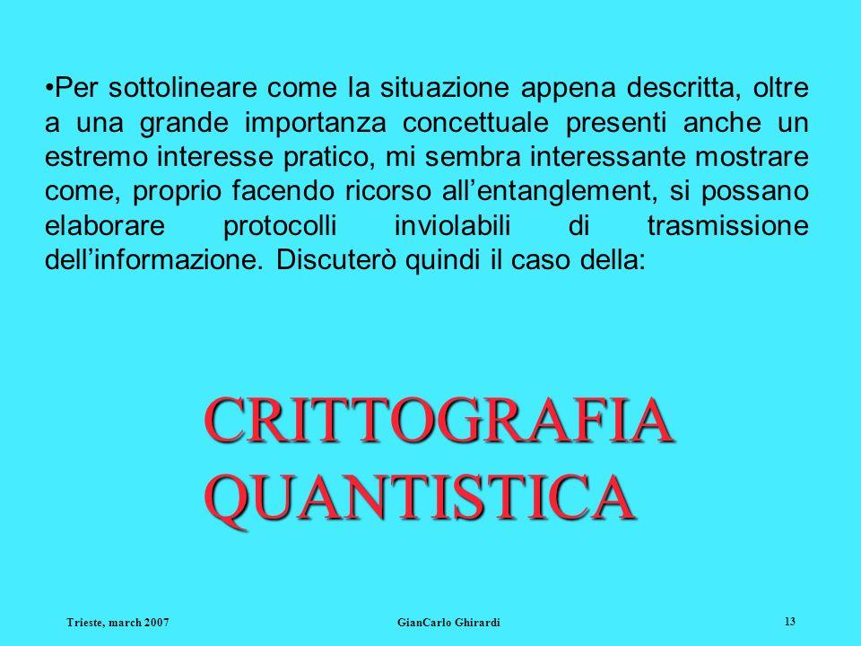 Trieste, march 2007GianCarlo Ghirardi 13 Per sottolineare come la situazione appena descritta, oltre a una grande importanza concettuale presenti anch