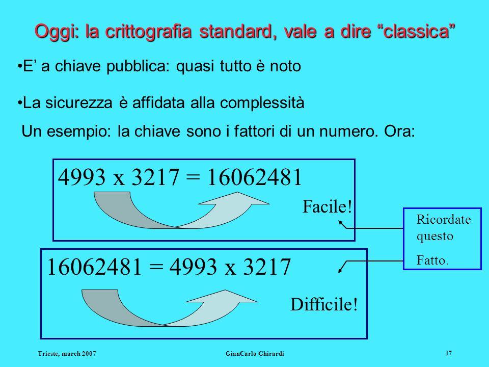 Trieste, march 2007GianCarlo Ghirardi 17 Oggi: la crittografia standard, vale a dire classica E a chiave pubblica: quasi tutto è noto La sicurezza è affidata alla complessità Un esempio: la chiave sono i fattori di un numero.