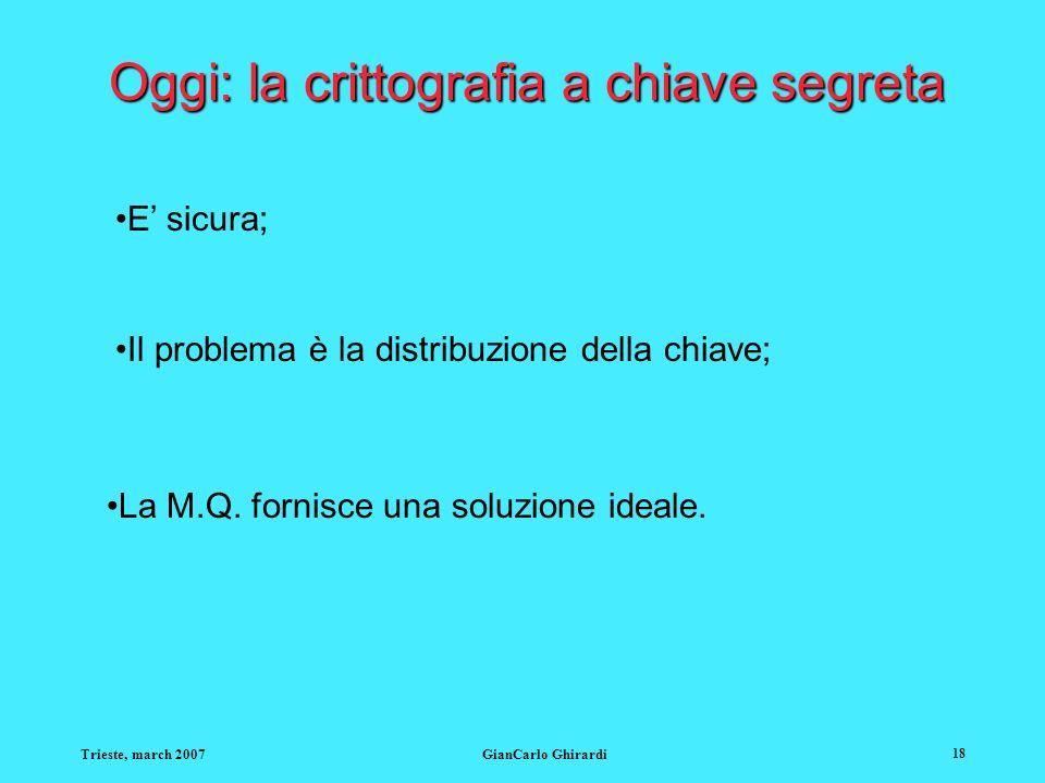 Trieste, march 2007GianCarlo Ghirardi 18 Oggi: la crittografia a chiave segreta E sicura; Il problema è la distribuzione della chiave; La M.Q. fornisc