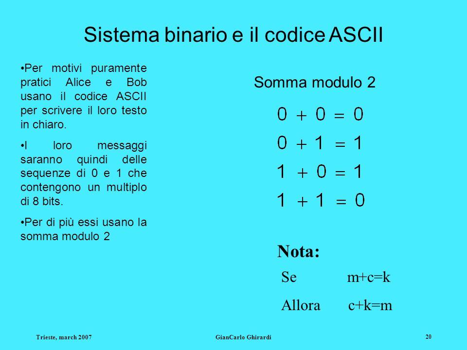 Trieste, march 2007GianCarlo Ghirardi 20 Sistema binario e il codice ASCII Per motivi puramente pratici Alice e Bob usano il codice ASCII per scrivere il loro testo in chiaro.