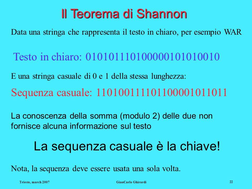 Trieste, march 2007GianCarlo Ghirardi 22 Il Teorema di Shannon Data una stringa che rappresenta il testo in chiaro, per esempio WAR Testo in chiaro: 010101110100000101010010 E una stringa casuale di 0 e 1 della stessa lunghezza: Sequenza casuale: 110100111101100001011011 La conoscenza della somma (modulo 2) delle due non fornisce alcuna informazione sul testo La sequenza casuale è la chiave.