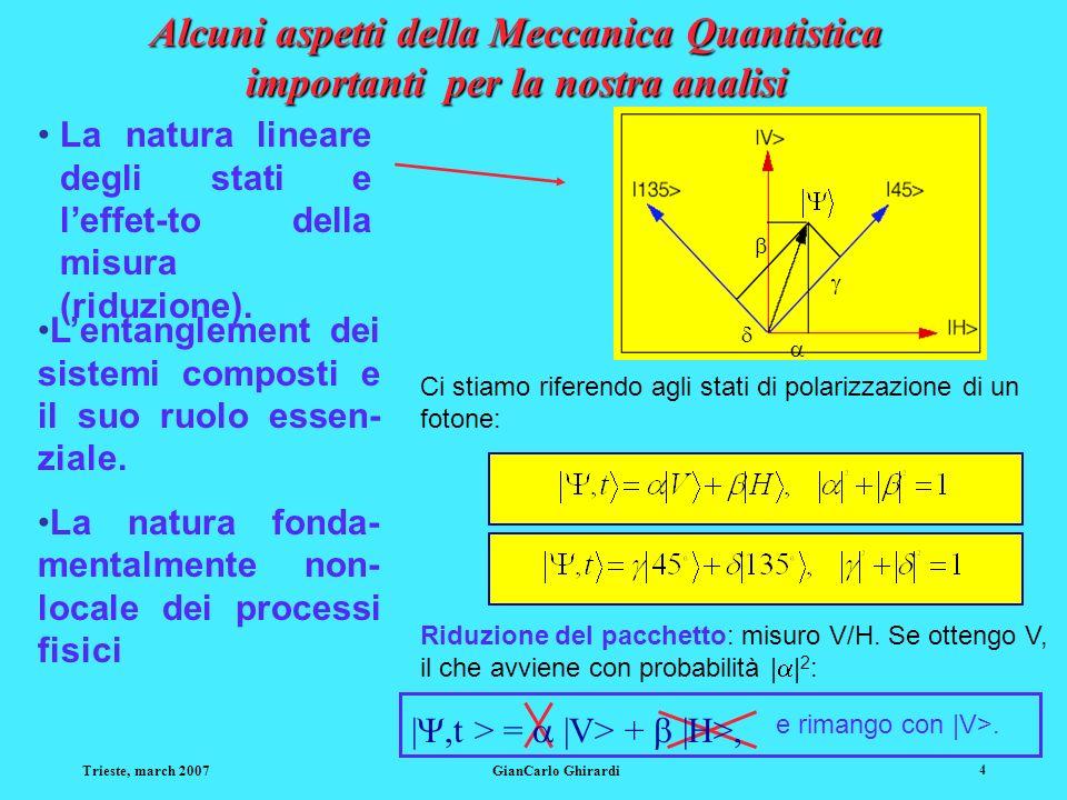 Trieste, march 2007GianCarlo Ghirardi 35 Il procedimento: seconda fase lindeterminismo quantistico A questo punto Alice mette in interazione il suo fotone T con il fotone A che lha raggiunta (di fatto esegue una specifica misura sul sistema globale T+A) e può ottenere - lindeterminismo quantistico - uno a caso tra quattro possibili esiti che caratterizzeremo con i relativi numeri: