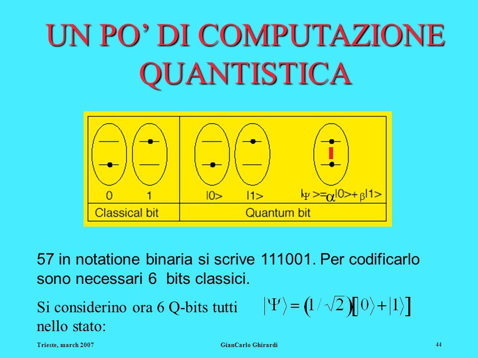 Trieste, march 2007GianCarlo Ghirardi 44 57 in notatione binaria si scrive 111001. Per codificarlo sono necessari 6 bits classici. Si considerino ora