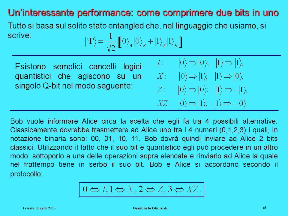 Trieste, march 2007GianCarlo Ghirardi 46 Uninteressante performance: come comprimere due bits in uno Tutto si basa sul solito stato entangled che, nel linguaggio che usiamo, si scrive: Esistono semplici cancelli logici quantistici che agiscono su un singolo Q-bit nel modo seguente: Bob vuole informare Alice circa la scelta che egli fa tra 4 possibili alternative.