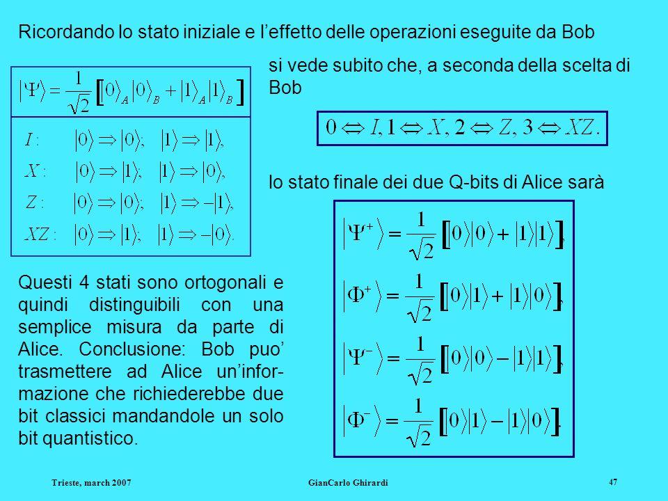 Trieste, march 2007GianCarlo Ghirardi 47 Ricordando lo stato iniziale e leffetto delle operazioni eseguite da Bob Questi 4 stati sono ortogonali e qui