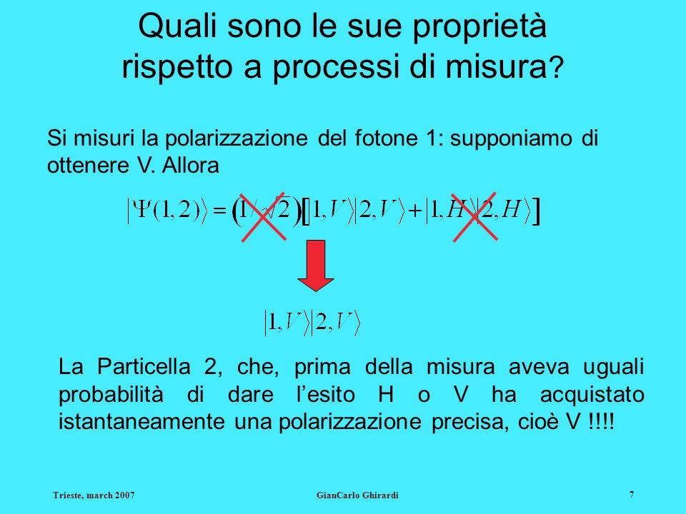 Trieste, march 2007GianCarlo Ghirardi 7 Quali sono le sue proprietà rispetto a processi di misura ? Si misuri la polarizzazione del fotone 1: supponia