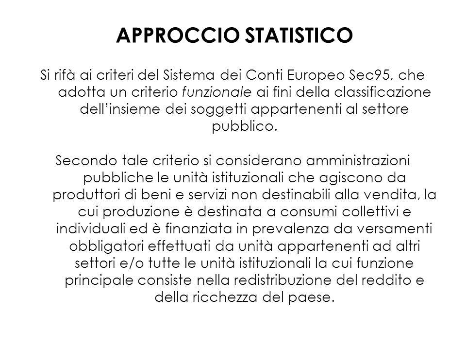 Si rifà ai criteri del Sistema dei Conti Europeo Sec95, che adotta un criterio funzionale ai fini della classificazione dellinsieme dei soggetti appartenenti al settore pubblico.