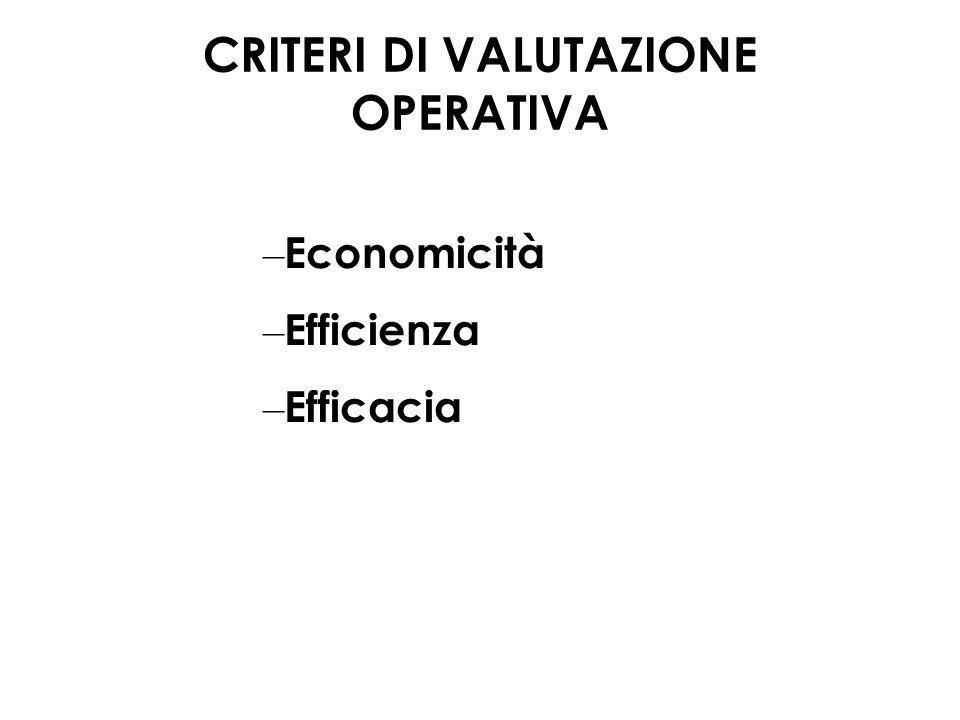 – Economicità – Efficienza – Efficacia CRITERI DI VALUTAZIONE OPERATIVA