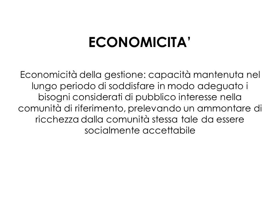 ECONOMICITA Economicità della gestione: capacità mantenuta nel lungo periodo di soddisfare in modo adeguato i bisogni considerati di pubblico interesse nella comunità di riferimento, prelevando un ammontare di ricchezza dalla comunità stessa tale da essere socialmente accettabile