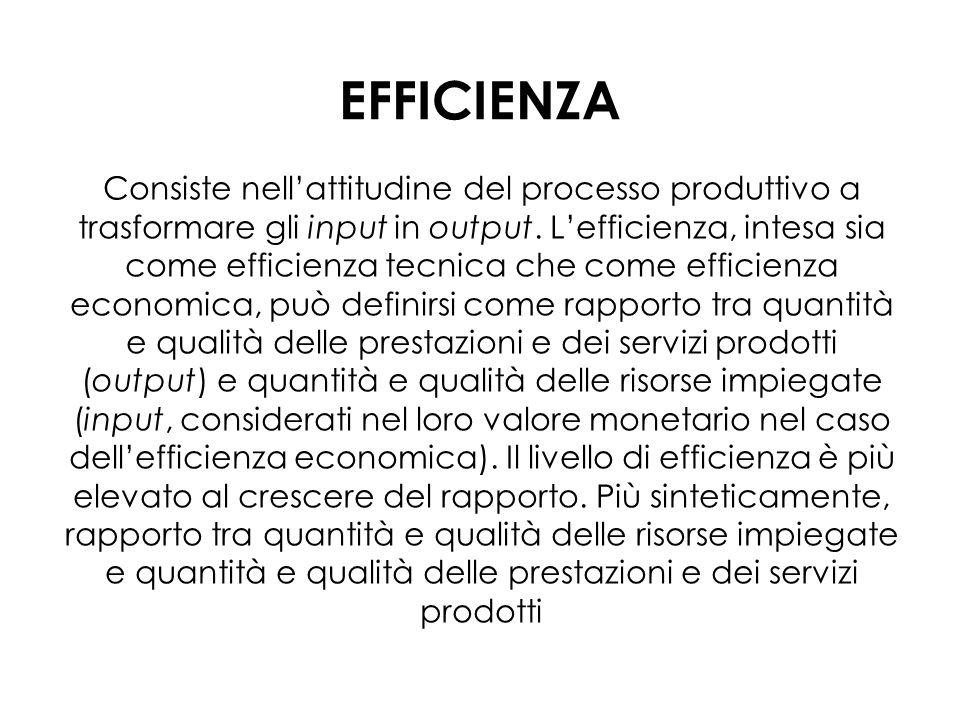EFFICIENZA Consiste nellattitudine del processo produttivo a trasformare gli input in output.
