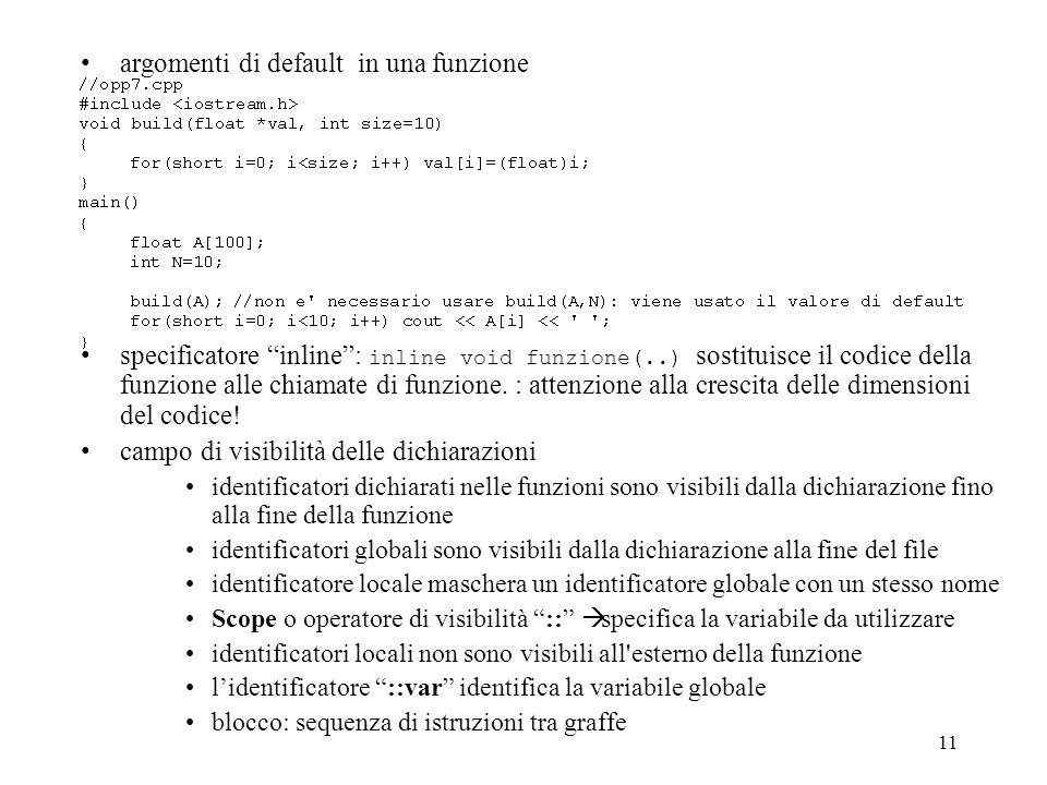 11 argomenti di default in una funzione specificatore inline: inline void funzione(..) sostituisce il codice della funzione alle chiamate di funzione.