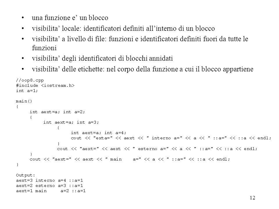 12 una funzione e un blocco visibilita locale: identificatori definiti allinterno di un blocco visibilita a livello di file: funzioni e identificatori