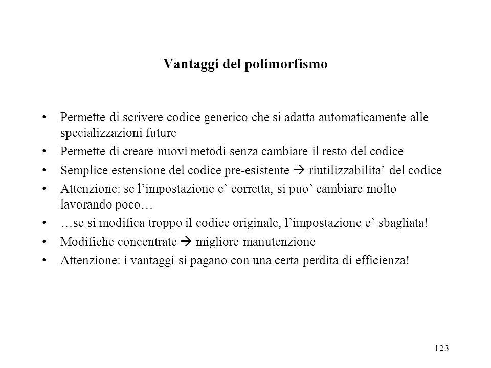 123 Vantaggi del polimorfismo Permette di scrivere codice generico che si adatta automaticamente alle specializzazioni future Permette di creare nuovi