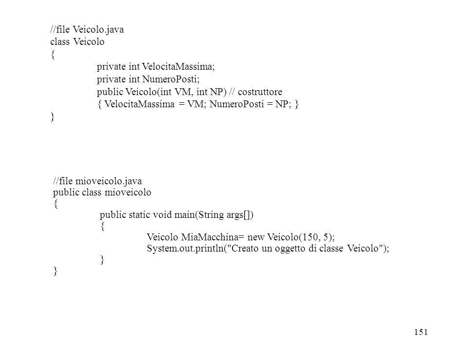151 //file Veicolo.java class Veicolo { private int VelocitaMassima; private int NumeroPosti; public Veicolo(int VM, int NP) // costruttore { VelocitaMassima = VM; NumeroPosti = NP; } } //file mioveicolo.java public class mioveicolo { public static void main(String args[]) { Veicolo MiaMacchina= new Veicolo(150, 5); System.out.println( Creato un oggetto di classe Veicolo ); }