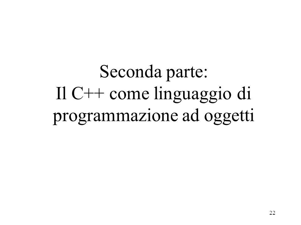 22 Seconda parte: Il C++ come linguaggio di programmazione ad oggetti